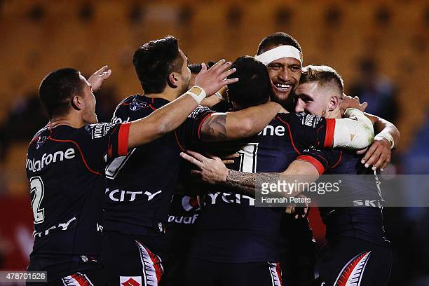 Manu Vatuvei of the Warriors celebrates after scoring a try during the round 16 NRL match between the New Zealand Warriors and the Canberra Raiders...