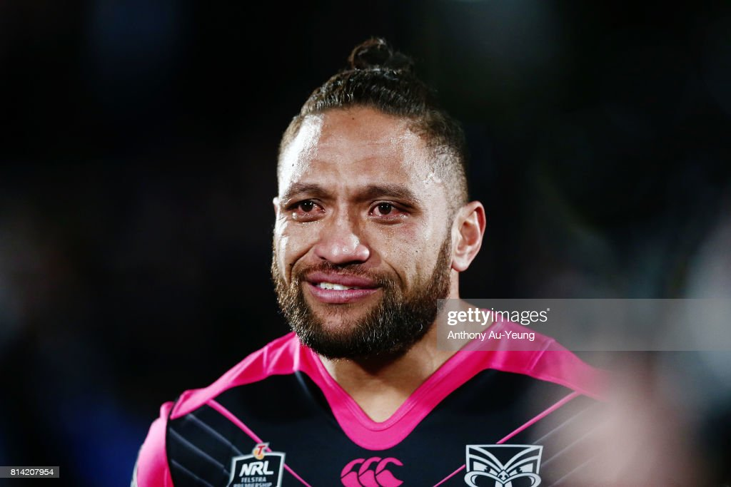 Manu Vatuvei of the Warriors gets emotional as he walks onto the field with his family before he leaves the club later in the week during the round 19 NRL match between the New Zealand Warriors and the Penrith Panthers at Mt Smart Stadium on July 14, 2017 in Auckland, New Zealand.
