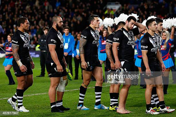 Manu Vatuvei Sam Kasiano Sonny Bill Williams Ben Matulino and Kevin Locke of New Zealand walk up to get their second placed medals after the Rugby...