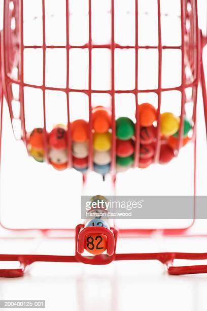 Manual bingo machine, close-up (focus on selected balls)