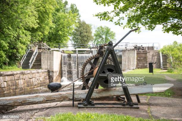 "manual hand crank at long island locks on rideau canal near manotick - ""danielle donders"" stock pictures, royalty-free photos & images"