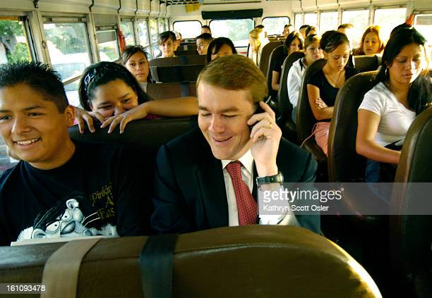 DENVER CO AUG 22 2006 Manual High School students head to their different high schools on buses Denver superintendent Michael Bennet rides one bus...