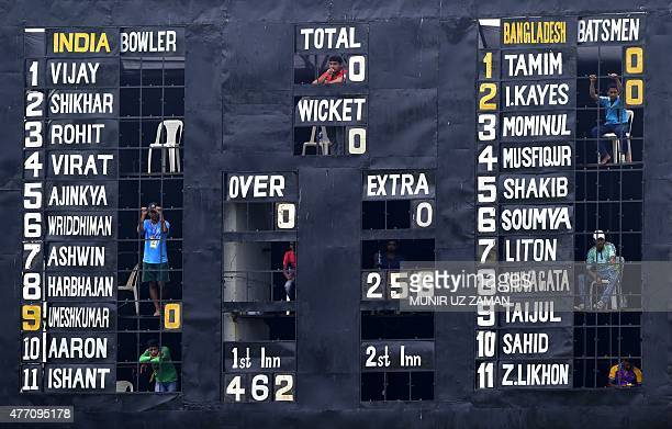 A manual scoreboard is seen during the final day of the cricket Test match between Bangladesh and India at Khan Shaheb Osman Ali Stadium in...