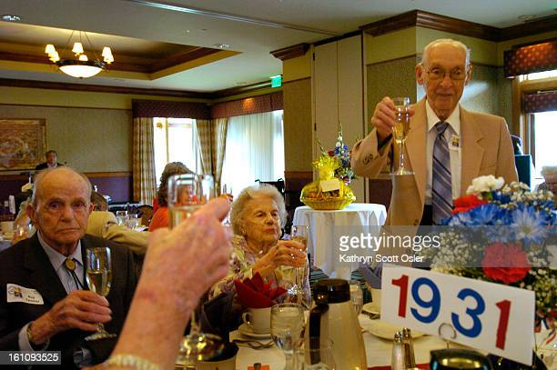Manual Training High School Reunion for classes 1930-1939 at the Pinehurst Country Club. Herbert Schoenfeld<cq> toasts his classmates of 1931,...