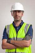 Manual worker portrait wearing safety gear