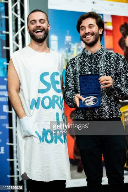 Manuel Abramovich winner of the Silver Bear Jury Prize for 'Blue Boy' and Creative Producer Bogdan Georgescu attend the press conference after the...