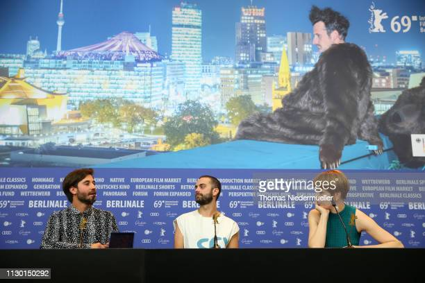 Manuel Abramovich winner of the Silver Bear Jury Prize for 'Blue Boy' Creative Producer Bogdan Georgescu and Jenni Zylka are seen at the press...