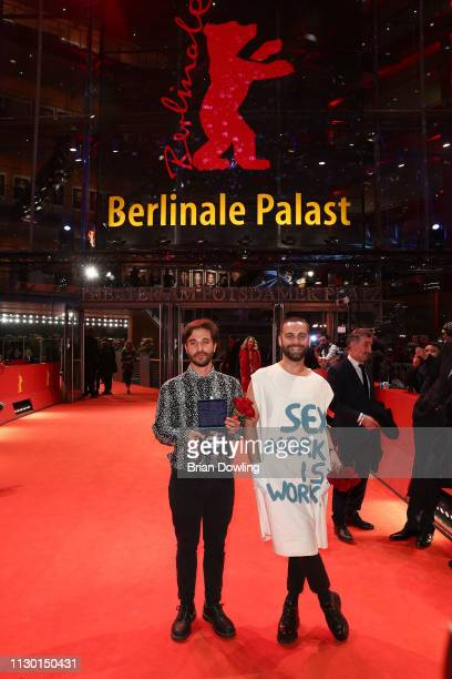 Manuel Abramovich winner of the Silver Bear Jury Prize for 'Blue Boy' and creative producer Bogdan Georgescu pose after the closing ceremony of the...