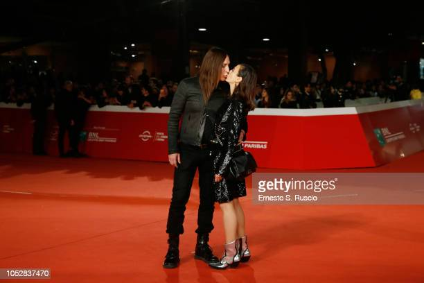 Manuel Agnelli and Francesca Risi kiss on the red carpet ahead of the Noi Siamo Afterhours screening during the 13th Rome Film Fest at Auditorium...