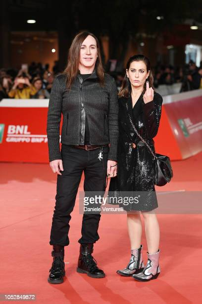 Manuel Agnelli and Francesca Risi walk the red carpet ahead of the Noi Siamo Afterhours screening during the 13th Rome Film Fest at Auditorium Parco...