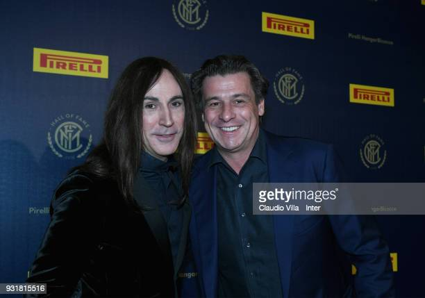 Manuel Agnelli and Nicola Berti attend FC Internazionale 110 Years Anniversary at Hangar Pirelli on March 9 2018 in Milan Italy