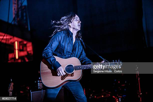 Manuel Agnelli of Italian alternative rock band Afterhours performs live at CarroPonte in Milan Italy for an evening dedicated to the 40 years of the...