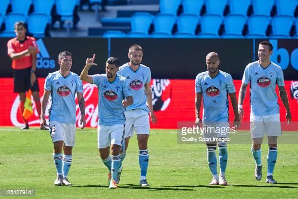 Manuel Agudo 'Nolito' of Celta de Vigo celebrates with his team mates after scoring his team's first goal during the Liga match between RC Celta de...