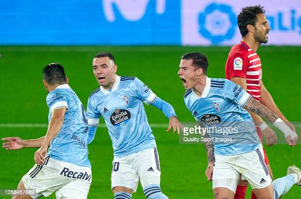 Manuel Agudo 'Nolito' of Celta de Vigo celebrates with Iago Aspas and Santi Mina after scoring his team's first goal during the La Liga Santander...