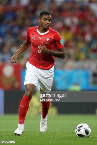 Manuel Akanji in action during the 2018 FIFA World Cup Russia group E match between Brazil and Switzerland at Rostov Arena on June 17 2018 in...