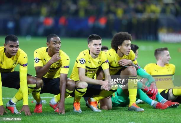 Manuel Akanji of Borussia Dortmund Abdou Diallo of Borussia Dortmund Julian Weigl of Borussia Dortmund Axel Witsel of Borussia Dortmund and Marco...