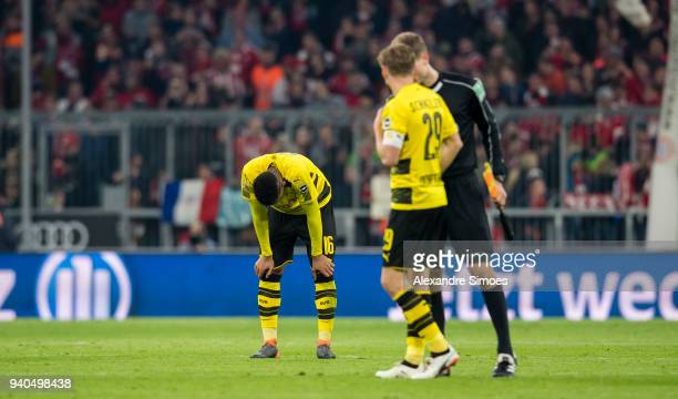 Manuel Akanji of Borussia Dortmund after the final whistle during the Bundesliga match between FC Bayern Muenchen and Borussia Dortmund at the...