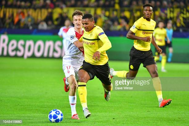 Manuel Akanji of Borussia Dortmund and Aleksandr Golovin of Monaco during the UEFA Champions League match between Borussia Dortmund and AS Monaco at...