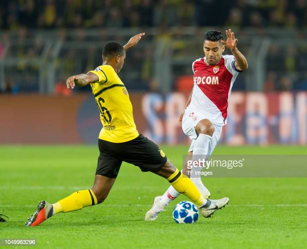 Manuel Akanji of Borussia Dortmund and Falcao of Monaco battle for the ball during the Group A match of the UEFA Champions League between Borussia...