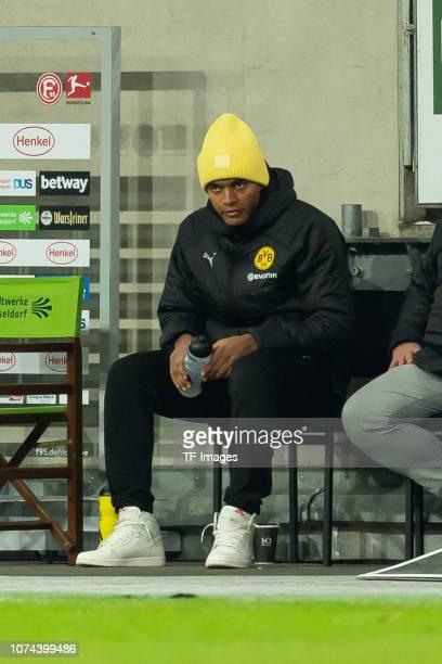 Manuel Akanji of Borussia Dortmund auf der Bank during the Bundesliga match between Fortuna Duesseldorf and Borussia Dortmund at EspritArena on...