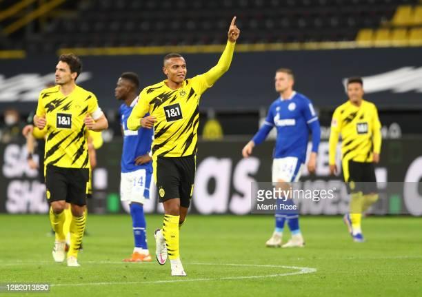 Manuel Akanji of Borussia Dortmund celebrates after he scores his team's first goal during the Bundesliga match between Borussia Dortmund and FC...