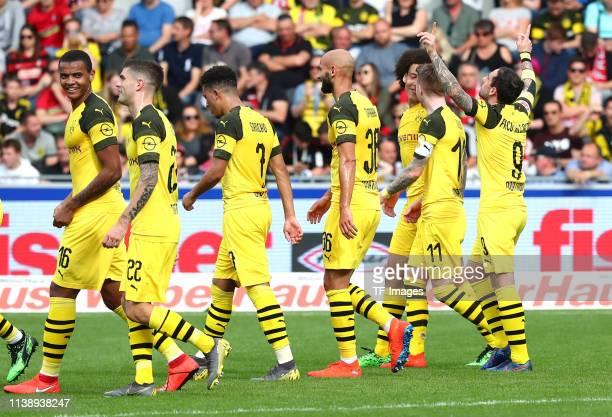 Manuel Akanji of Borussia Dortmund Christian Pulisic of Borussia Dortmund Jadon Malik Sancho of Borussia Dortmund Oemer Toprak of Borussia Dortmund...