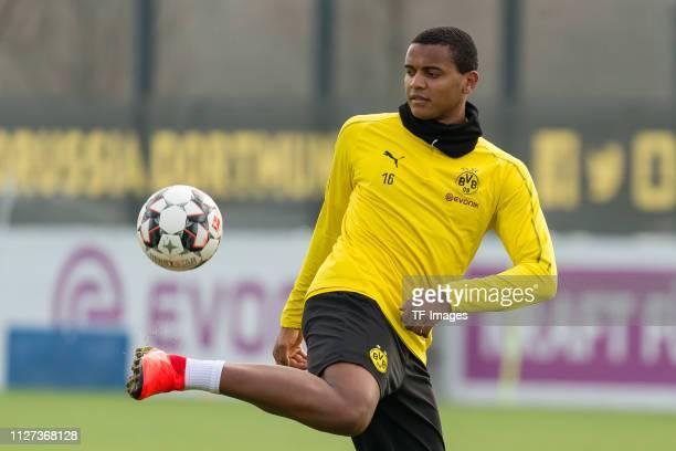 Manuel Akanji of Borussia Dortmund controls the ball during a training session at the Borussia Dortmund training center on February 22 2019 in...