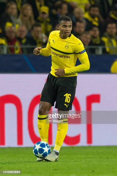 Manuel Akanji of Borussia Dortmund controls the ball during the Group A match of the UEFA Champions League between Borussia Dortmund and AS Monaco at...
