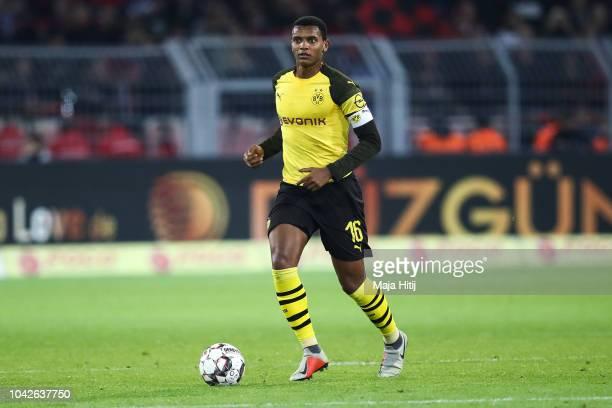 Manuel Akanji of Borussia Dortmund controls the ball during the Bundesliga match between Borussia Dortmund and 1 FC Nuernberg at Signal Iduna Park on...