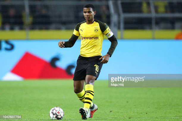 Manuel Akanji of Borussia Dortmund controls the ball during the Bundesliga match between Borussia Dortmund and 1 FC Nuernberg at Signal Iduna Park on...