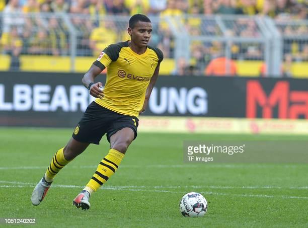 Manuel Akanji of Borussia Dortmund controls the ball during the Bundesliga match between Borussia Dortmund and FC Augsburg at Signal Iduna Park on...