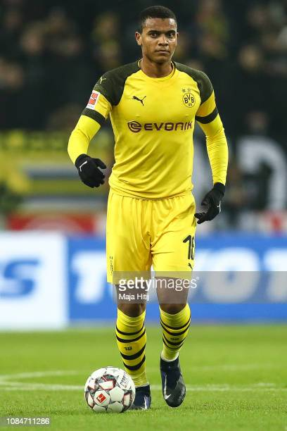 Manuel Akanji of Borussia Dortmund controls the ball during the Bundesliga match between Fortuna Duesseldorf and Borussia Dortmund at EspritArena on...