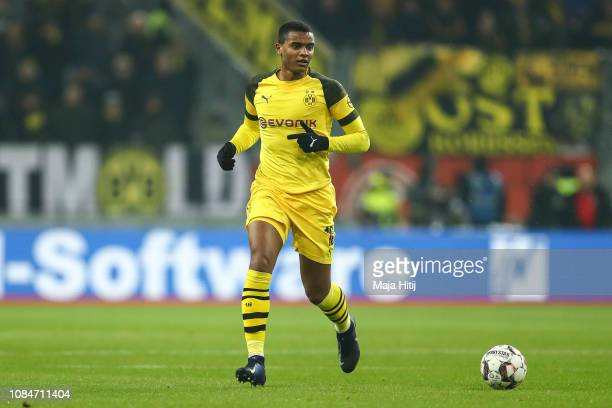 Manuel Akanji of Borussia Dortmund controls the ball during the Bundesliga match between Fortuna Duesseldorf and Borussia Dortmund at EspritArena on...