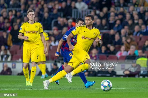 Manuel Akanji of Borussia Dortmund in action during the Barcelona V Borussia Dortmund UEFA Champions League group stage match at Estadio Camp Nou on...