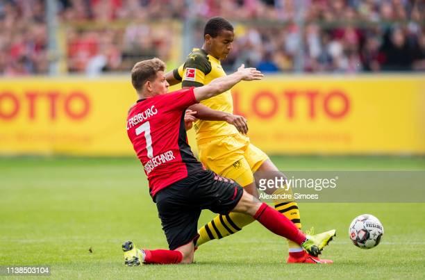 Manuel Akanji of Borussia Dortmund in action during the Bundesliga match between SportClub Freiburg and Borussia Dortmund at the SchwarzwaldStadion...