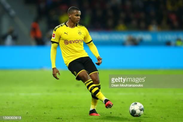 Manuel Akanji of Borussia Dortmund in action during the Bundesliga match between Bayer 04 Leverkusen and Borussia Dortmund at BayArena on February 08...
