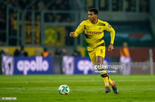 Manuel Akanji of Borussia Dortmund in action during the Bundesliga match between Borussia Moenchengladbach and Borussia Dortmund at the BorussiaPark...