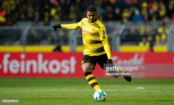 Manuel Akanji of Borussia Dortmund in action during the Bundesliga match between Borussia Dortmund and Hannover 96 at the Signal Iduna Park on March...