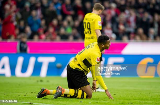 Manuel Akanji of Borussia Dortmund in action during the Bundesliga match between FC Bayern Muenchen and Borussia Dortmund at the Allianz Arena on...