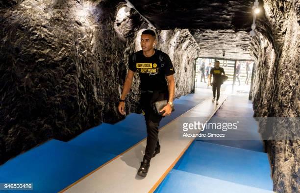 Manuel Akanji of Borussia Dortmund is arriving at the stadium prior to the Bundesliga match between FC Schalke 04 and Borussia Dortmund at the...