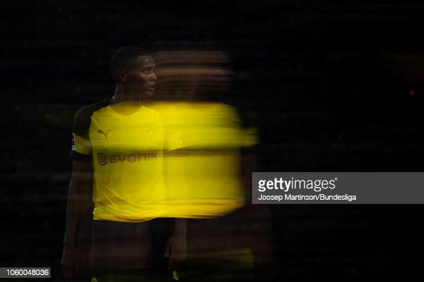Manuel Akanji of Borussia Dortmund looks on during the Bundesliga match between Borussia Dortmund and FC Bayern Muenchen at Signal Iduna Park on...