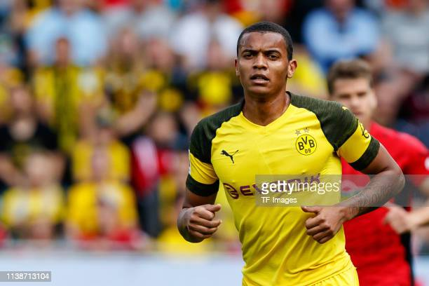 Manuel Akanji of Borussia Dortmund looks on during the Bundesliga match between SportClub Freiburg and Borussia Dortmund at SchwarzwaldStadion on...