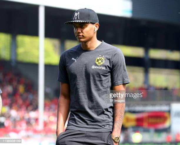 Manuel Akanji of Borussia Dortmund looks on prior to the Bundesliga match between SportClub Freiburg and Borussia Dortmund at SchwarzwaldStadion on...