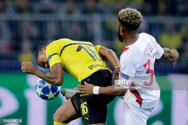 Manuel Akanji of Borussia Dortmund Moussa Styla of AS Monaco during the UEFA Champions League match between Borussia Dortmund v AS Monaco at the...