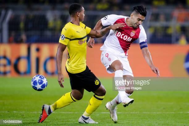 Manuel Akanji of Borussia Dortmund Radamel Falcao of AS Monaco during the UEFA Champions League match between Borussia Dortmund v AS Monaco at the...