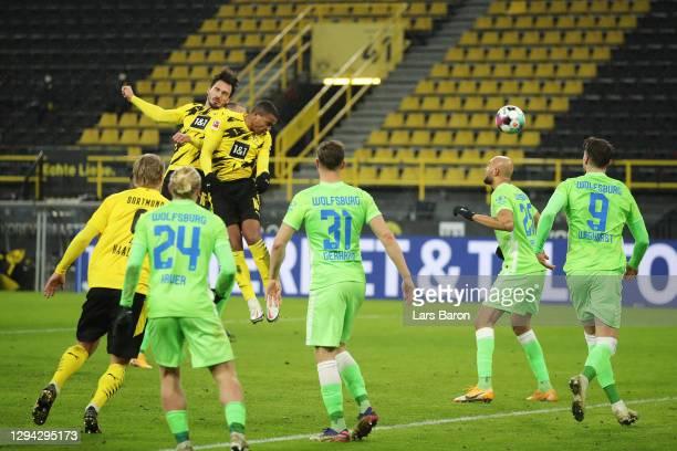 Manuel Akanji of Borussia Dortmund scores their sides first goal during the Bundesliga match between Borussia Dortmund and VfL Wolfsburg at Signal...