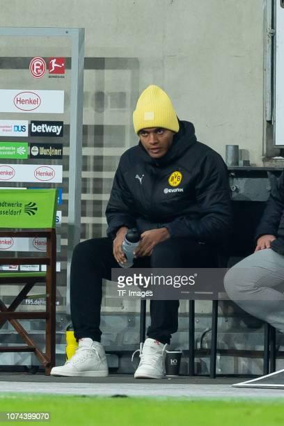 Manuel Akanji of Borussia Dortmund sits on the bench during the Bundesliga match between Fortuna Duesseldorf and Borussia Dortmund at EspritArena on...