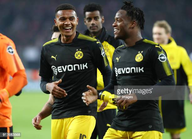 Manuel Akanji of Dortmund and Michy Batshuayi of Dortmund celebrate after winning the Bundesliga match between 1 FC Koeln and Borussia Dortmund at...