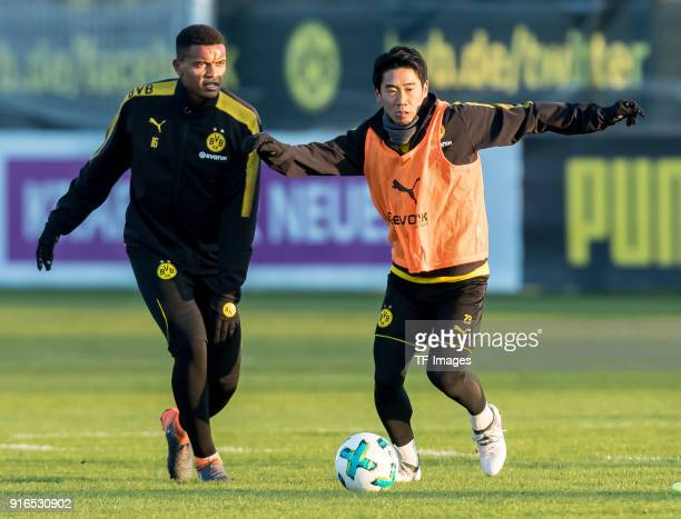 Manuel Akanji of Dortmund and Shinji Kagawa of Dortmund battle for the ball during a training session at BVB trainings center on February 05 2018 in...