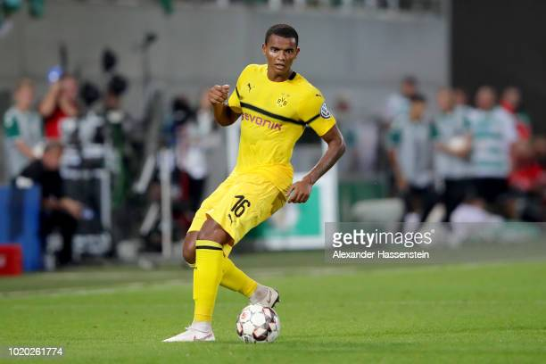 Manuel Akanji of Dortmund battles for the ball with of Fuerth during the DFB Cup first round match between SpVgg Greuther Fuerth and BVB Borussia...